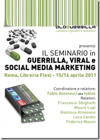 Seminario su Guerrilla, Viral e Social Media Marketing
